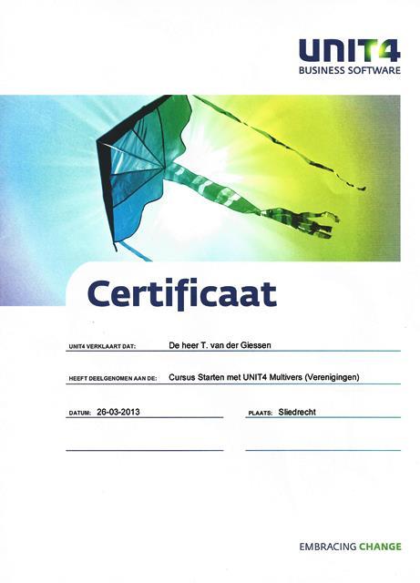 certificaat cursus unit4